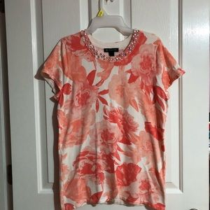 Flower top with embellishments I N C